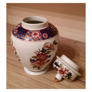 Vintage Japan white small 6in vase floral with lid